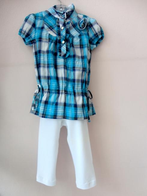 Camisão xadrezinho com legging branca !! Linda e confortável !!