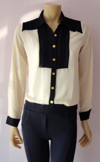 camisa chiffon bicolor R$ calça montaria suplex R$