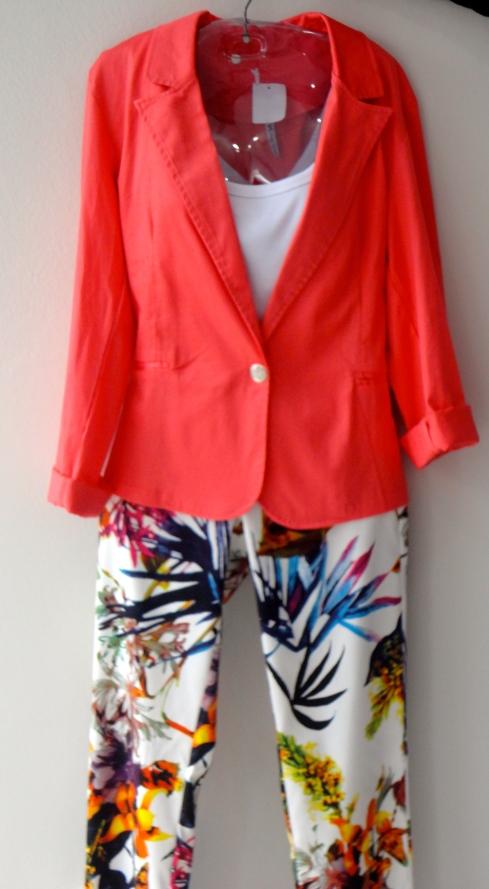 Blazer liso em diversas cores R$ , calça estampada (combina com todas as cores de blazer) R$ e regata básica.